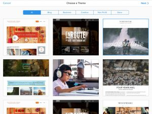 Theme selection in Weebly. Click to enlarge.